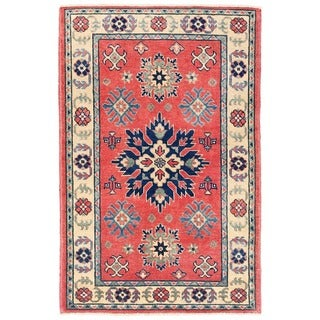 Herat Oriental Afghan Hand-knotted Vegetable Dye Tribal Kazak Wool Rug (2'7 x 4'1)