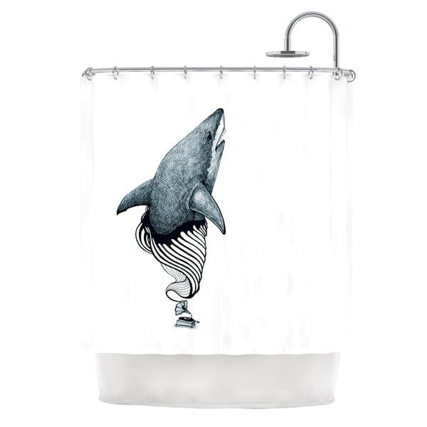 KESS InHouse Graham Curran Shark Record Shower Curtain (69x70)