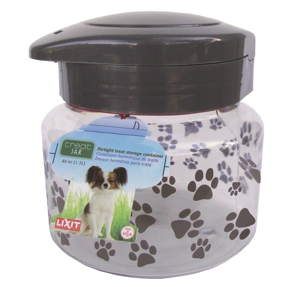 Lixit 64 Oz Plastic Dog Treat Jar (Dog Treat Jar Med), Grey