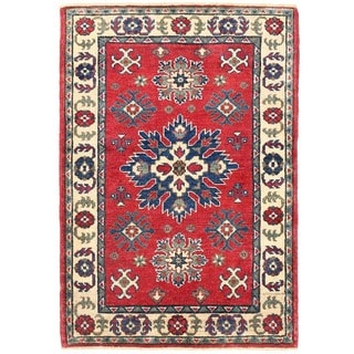 Herat Oriental Afghan Hand-knotted Vegetable Dye Tribal Kazak Wool Rug (2'8 x 3'11)