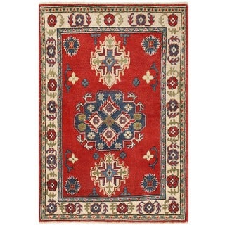 Herat Oriental Afghan Hand-knotted Vegetable Dye Tribal Kazak Wool Rug (2'9 x 3'11)