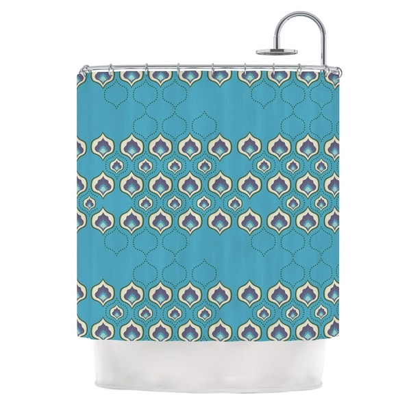 KESS InHouse Fernanda Sternieri Happy Path Blue Pattern Shower Curtain (69x70)