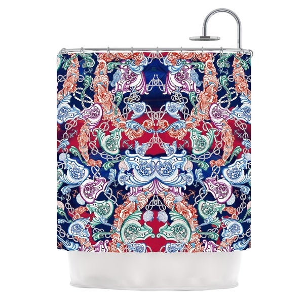KESS InHouse Fernanda Sternieri Barroque Sea Multicolor Abstract Shower Curtain (69x70)