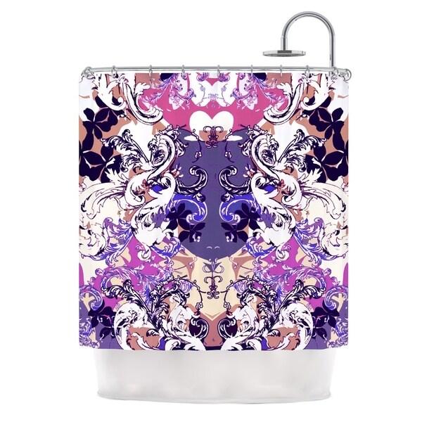KESS InHouse Fernanda Sternieri Barroque in Love White Pink Shower Curtain (69x70)