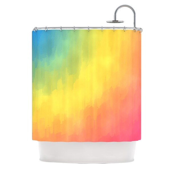 KESS InHouse Fotios Pavlopoulos Watercolor Layers Rainbow Shower Curtain (69x70)