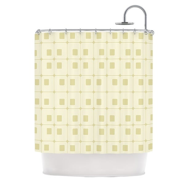 KESS InHouse Fotios Pavlopoulos Squares in Square Tan Shapes Shower Curtain (69x70)