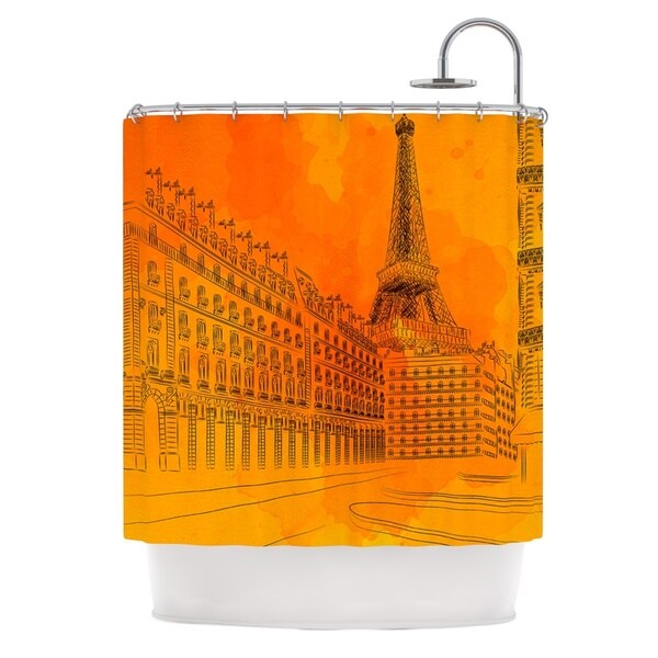 KESS InHouse Fotios Pavlopoulos Parisian Sunsets Orange City Shower Curtain (69x70)
