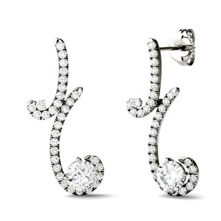 Charles & Colvard 14k White Gold 1 3/5ct DEW Forever Brilliant Moissanite Two Stone Drop Earrings