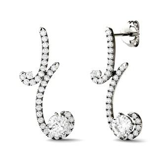 Charles & Colvard 14k White Gold 1 3/5ct DEW Forever Brilliant Moissanite Two Stone Drop Earrings