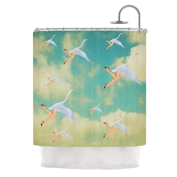 KESS InHouse Natt Swan Teal Yellow Shower Curtain (69x70)