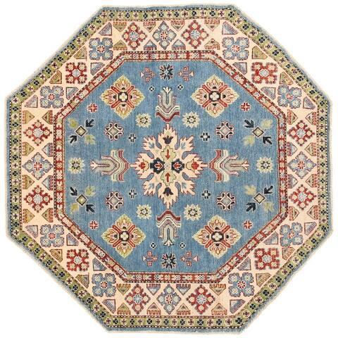 Handmade One-of-a-Kind Vegetable Dye Kazak Wool Rug (Afghanistan) - 4'10 x 4'10