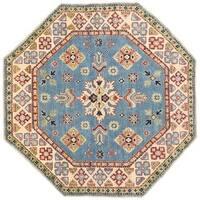 Handmade Herat Oriental Afghan Vegetable Dye Kazak Wool Rug - 4'10 x 4'10 (Afghanistan)