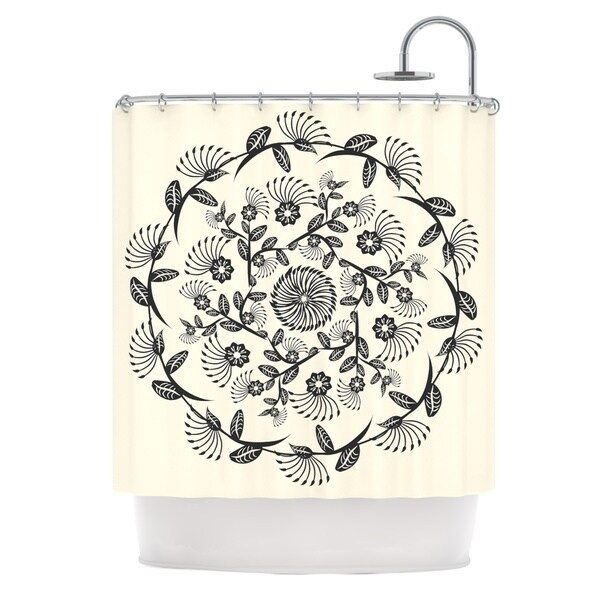 Shop KESS InHouse Famenxt Black White Decorative Mandala Geometric Shower Curtain 69x70