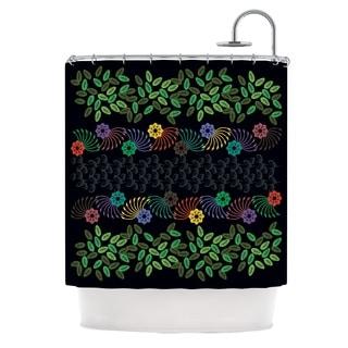 KESS InHouse Famenxt Dark Jungle Pattern Black Green Shower Curtain (69x70)