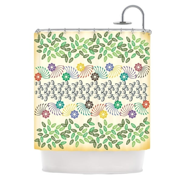 KESS InHouse Famenxt Flowers & Leaves Pattern Abstract Geometric Shower Curtain (69x70)