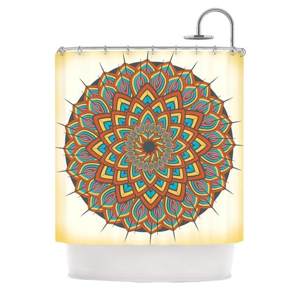 "KESS InHouse Famenxt ""Floral Mandala"" Multicolor Geometric Shower Curtain (69x70) - 69 x 70"