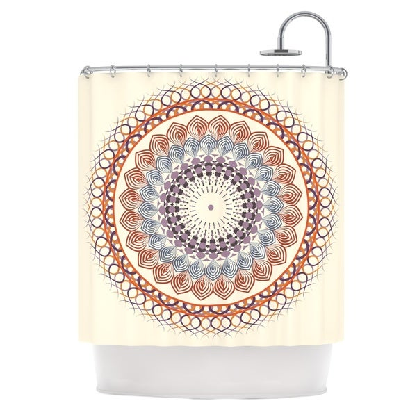 KESS InHouse Famenxt Vintage Mandala Yellow Multicolor Shower Curtain (69x70)