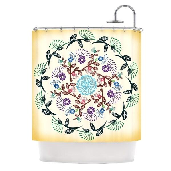 KESS InHouse Famenxt Nature Mandala Yellow Multicolor Shower Curtain (69x70)