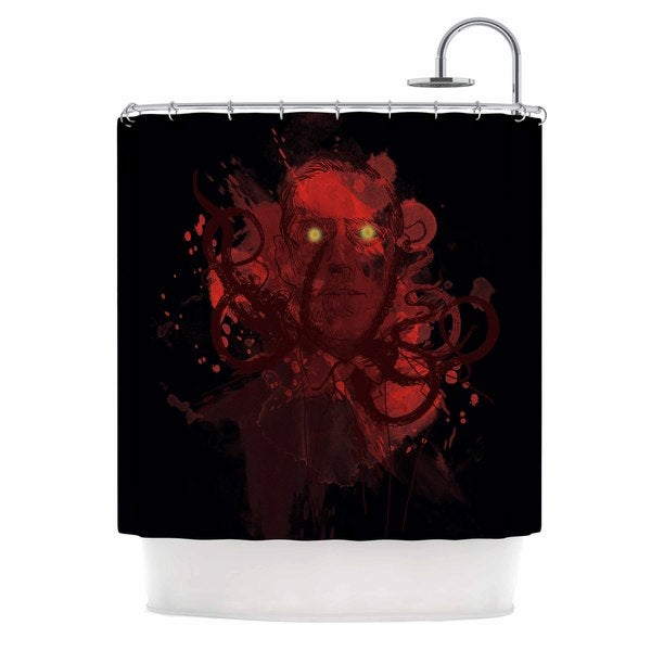 KESS InHouse Frederic Levy-Hadida Miskatoninked Red Black Shower Curtain (69x70)