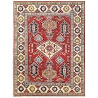 Handmade Herat Oriental Afghan Vegetable Dye Kazak Wool Rug (Afghanistan) - 4'10 x 6'6