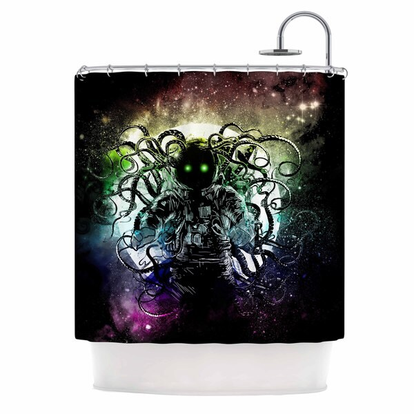KESS InHouse Frederic Levy-Hadida Terror From Deep Space Teal Purple Shower Curtain (69x70)