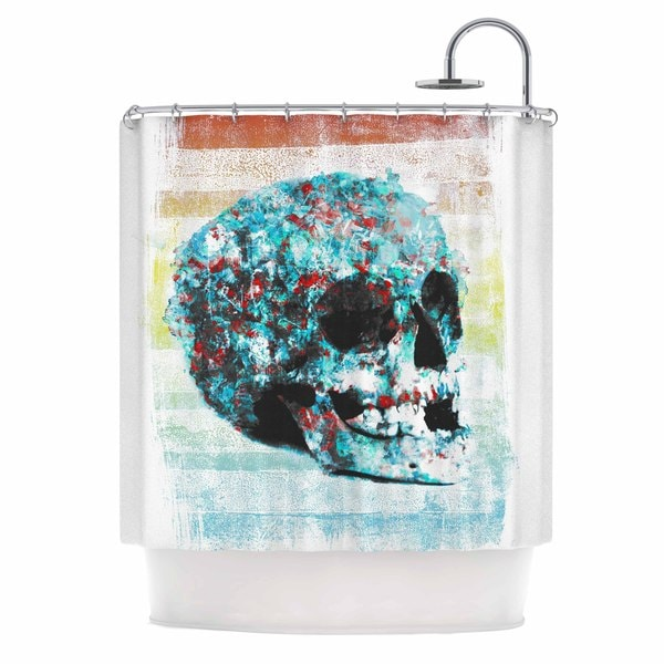 KESS InHouse Frederic Levy-Hadida Floral Skully 2  Coral Teal Shower Curtain (69x70)