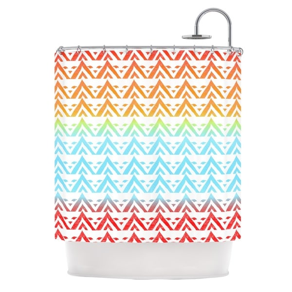 KESS InHouse Frederic Levy-Hadida Antilops Pattern Multicolor Chevron Shower Curtain (69x70)