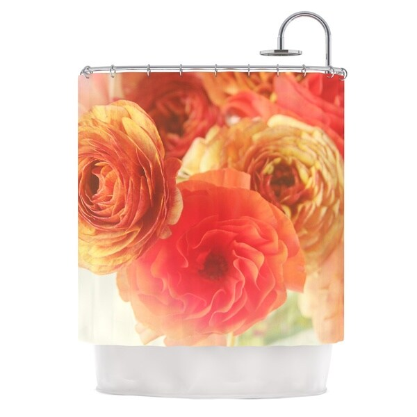 KESS InHouse Debbra Obertanec Coral Ranunculus Pink Floral Shower Curtain (69x70)