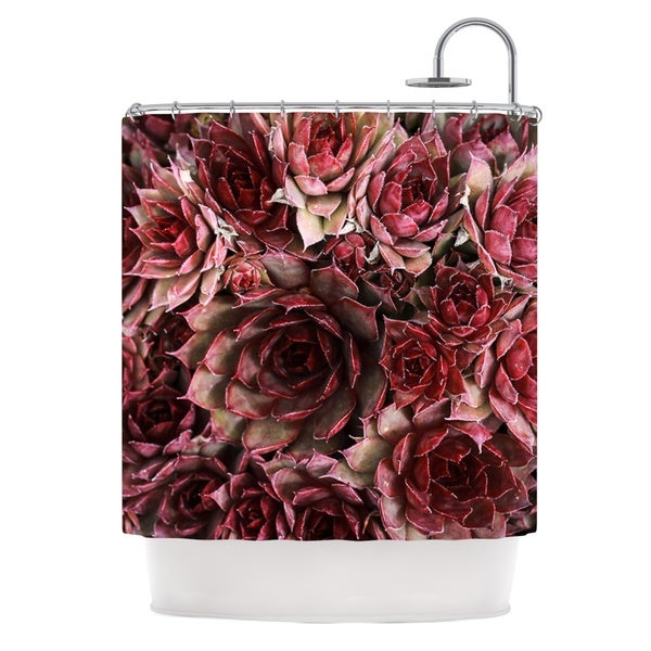 KESS InHouse Debbra Obertanec Red Succulents Maroon Shower Curtain (69x70)