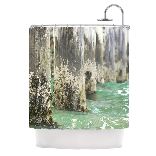 KESS InHouse Debbra Obertanec Saltwater Pylons Wooden Shower Curtain (69x70)