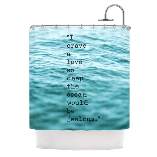 KESS InHouse Debbra Obertanec Crave Love Blue Ocean Shower Curtain (69x70)