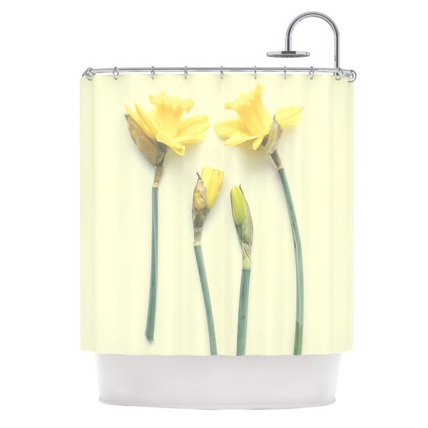 KESS InHouse Debbra Obertanec Springtime Yellow Tulip Shower Curtain (69x70)
