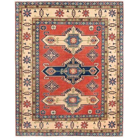 Handmade Herat Oriental Afghan Vegetable Dye Kazak Wool Rug - 5' x 6'4 (Afghanistan)