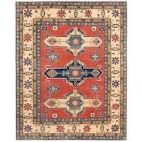 Herat Oriental Afghan Hand-knotted Vegetable Dye Kazak Wool Rug (5' x 6'4)