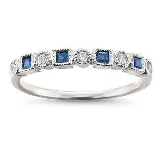 Montebello Jewelry 14k White Gold 1/4ct TGW Blue Sapphire and White Diamond Wedding Band (H-I, I1-I2)