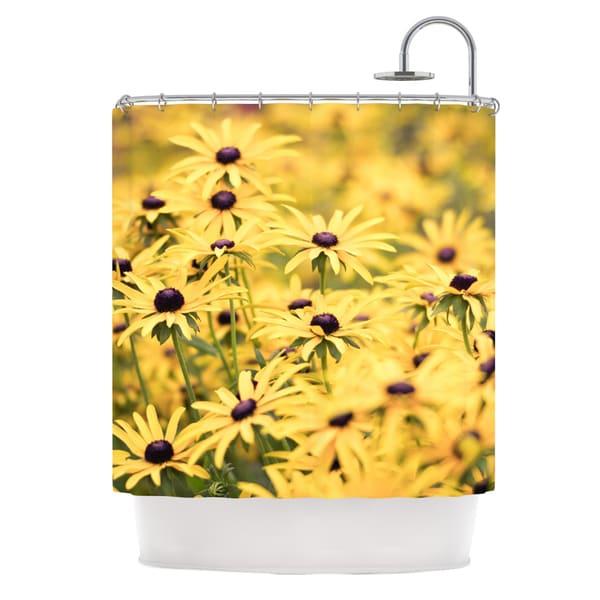 KESS InHouse Debbra Obertanec Pantone Yellow Flower Daisy Shower Curtain (69x70)