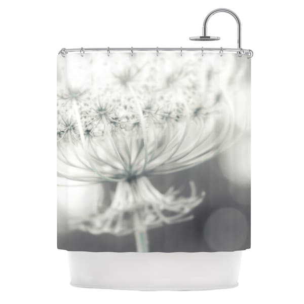KESS InHouse Debbra Obertanec Queen White Flower Shower Curtain (69x70)