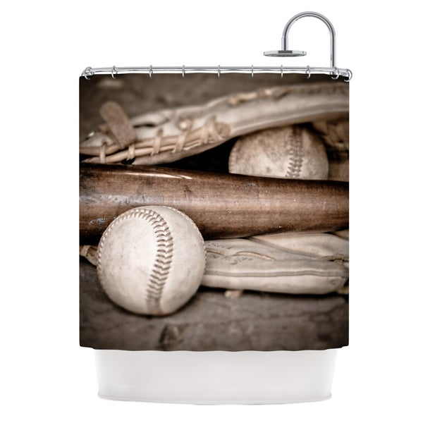 KESS InHouse Debbra Obertanec Play Ball Baseball Shower Curtain (69x70)
