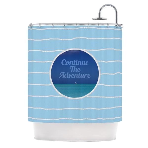 KESS InHouse Deepti Munshaw Continue The Adventure Blue Aqua Shower Curtain (69x70)