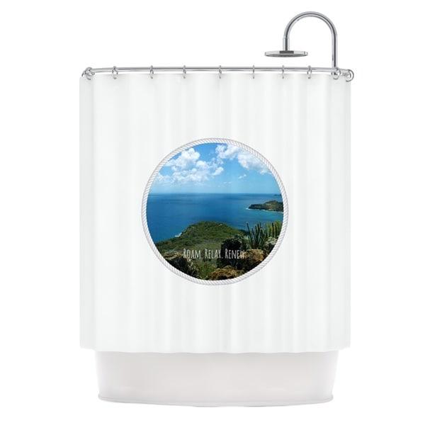 KESS InHouse Deepti Munshaw Roam Relax Renew Ocean Shower Curtain (69x70)