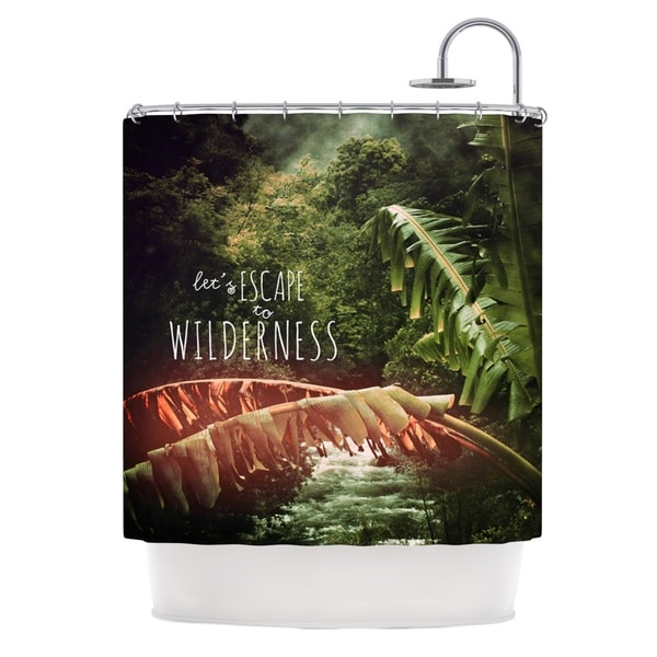 KESS InHouse Deepti Munshaw Escape to Wilderness Forest Quote Shower Curtain (69x70)