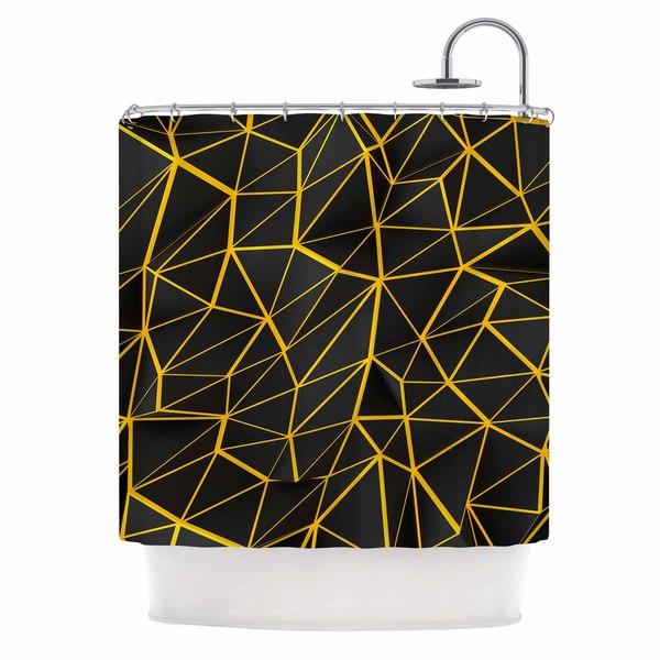 KESS InHouse Danny Ivan Yellow Poly Yellow Black Shower Curtain (69x70)