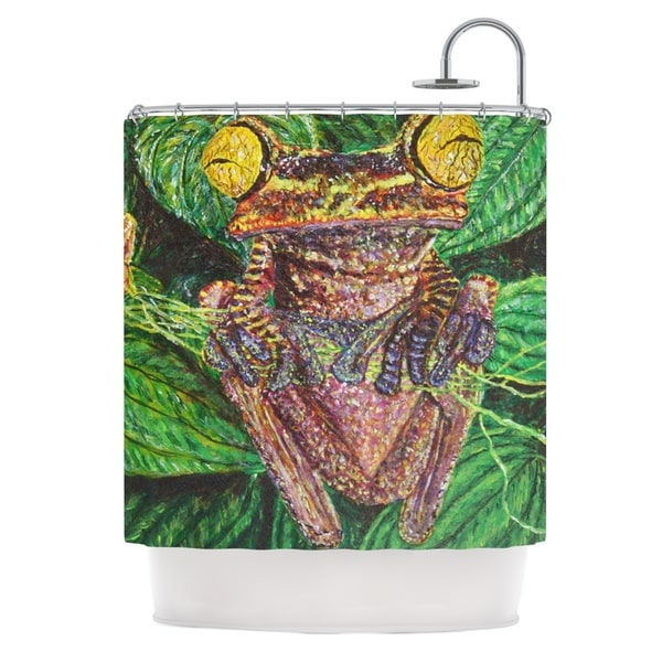 KESS InHouse David Joyner Frogs Green Red Shower Curtain (69x70)