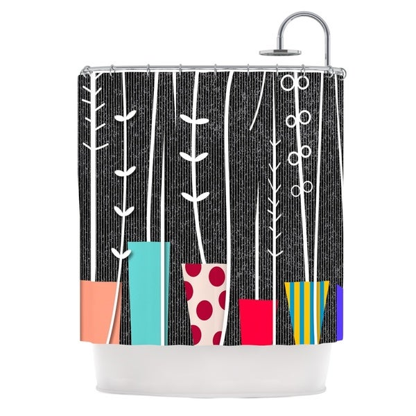 KESS InHouse Danny Ivan Wild Plants Black White Shower Curtain (69x70)