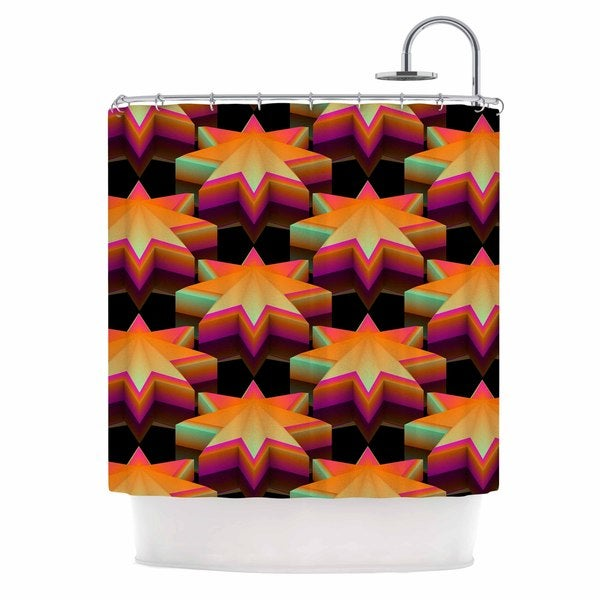 Shop KESS InHouse Danny Ivan Stars Pattern Black Orange Shower Curtain 69x70