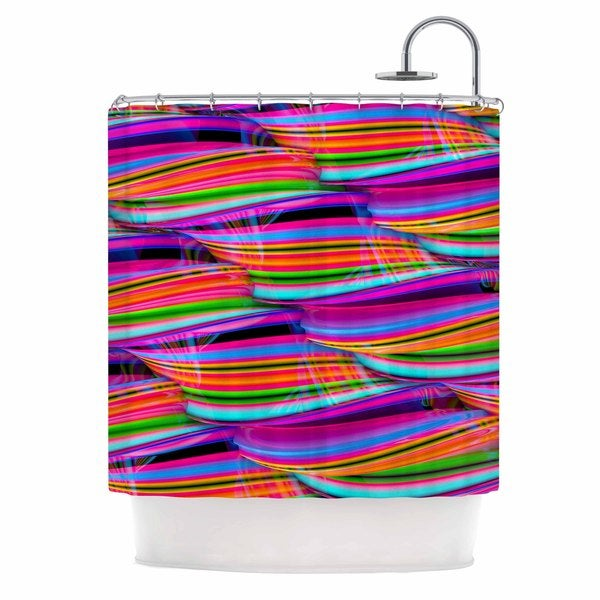 KESS InHouse Danny Ivan Super Candy Red Teal Shower Curtain (69x70)