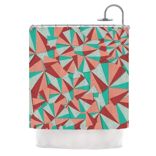 KESS InHouse Danny Ivan Marsala Pattern Teal Red Shower Curtain (69x70)
