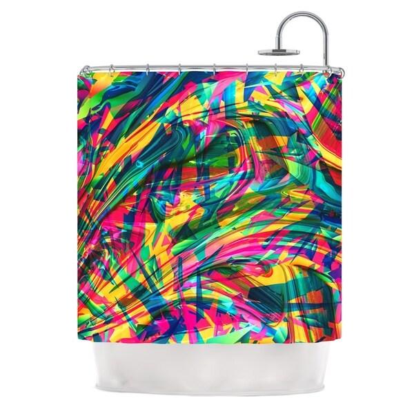 KESS InHouse Danny Ivan Wild Abstract Rainbow Illustration Shower Curtain (69x70)