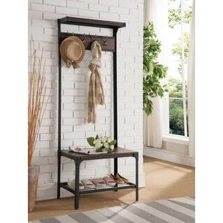 K and B Furniture Co Inc Antique Walnut Wood/Metal Hall Tree Bench