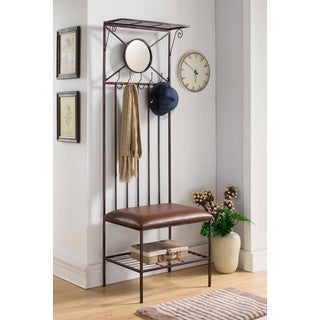 K and B Furniture Copper Metal Hall Tree Bench